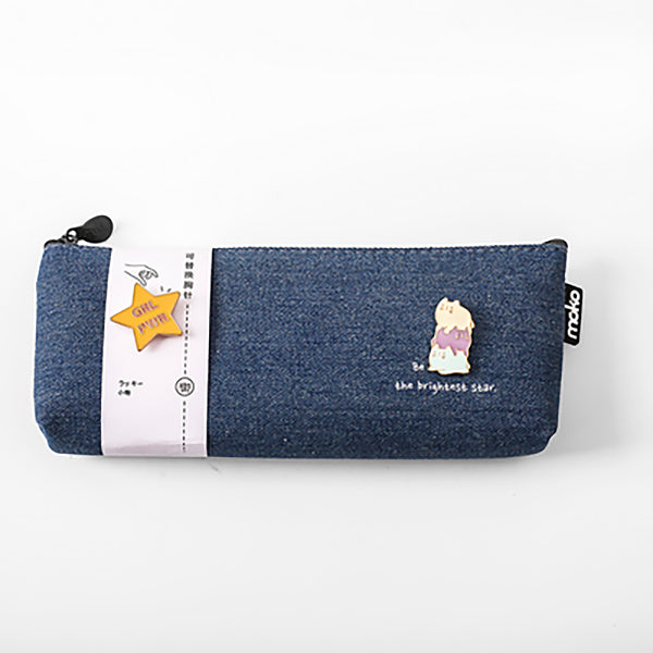 Canvas Pencil Pouch with Brooch, Blue