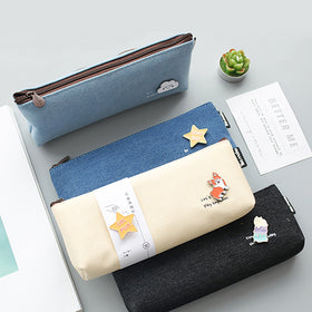 Canvas Pencil Pouch with Brooch