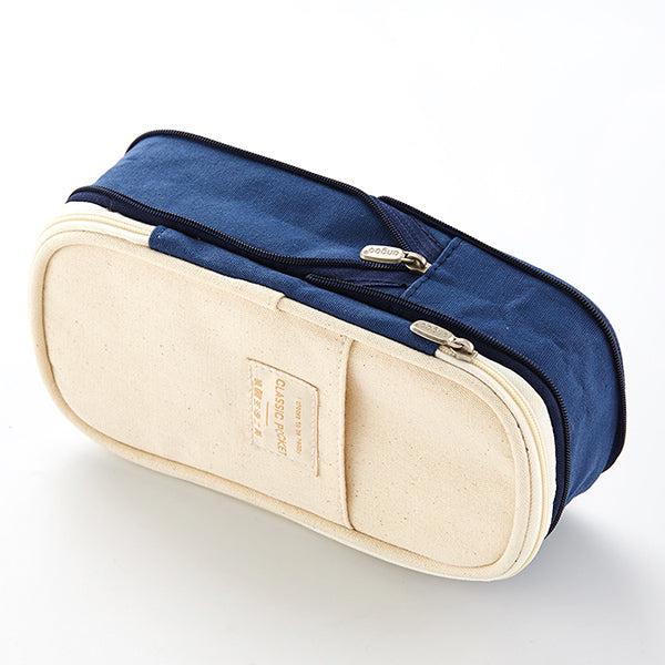 Canvas Zippered Large Foldable Pencil Case (2 Sizes), Midnight Blue