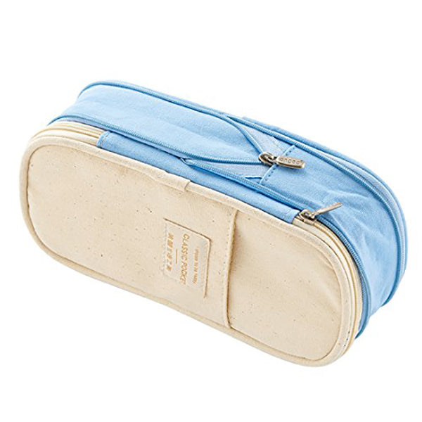 Canvas Zippered Large Foldable Pencil Case (2 Sizes), Pale Blue