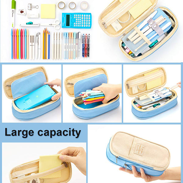Canvas Zippered Large Foldable Pencil Case (2 Sizes)