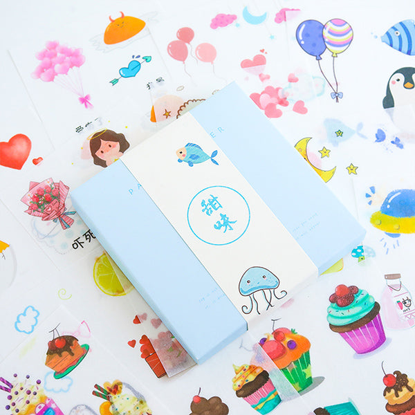 Cartoon Scrapbook Stickers Set, Set E