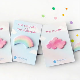 Cloudy and Rainbow Pastel Sticky Note 2 Pads Pack