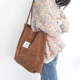 Corduroy Tote Shoulder Bag