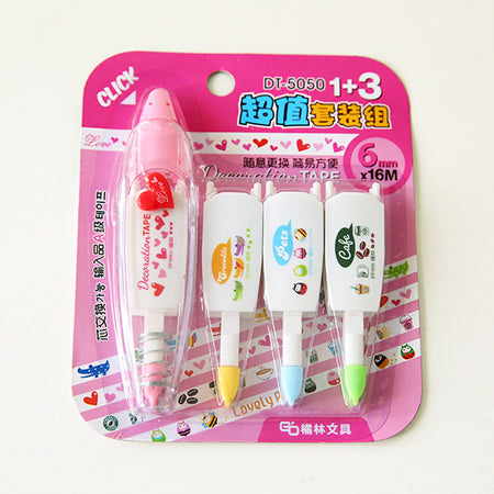Correction Tape Decorative Sticker Pen, Heart (Type 2) + 3 Sticker Tapes Refill