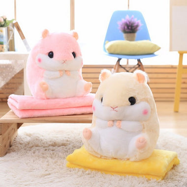 Cuddly Hamster Plush Cushion Blanket