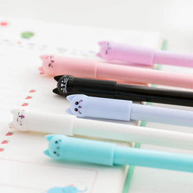 Cute Cartoon Cat Gel Pen 6 Colors Set Black Ink