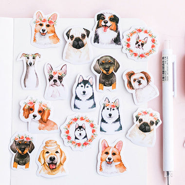 Cute Dogs Drawing Paper Stickers 46 Pcs