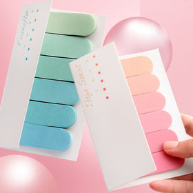 Double-Sided Pastel Gradient Bookmark Sticky Note Pad Sets,4 Sets (4 Colors)