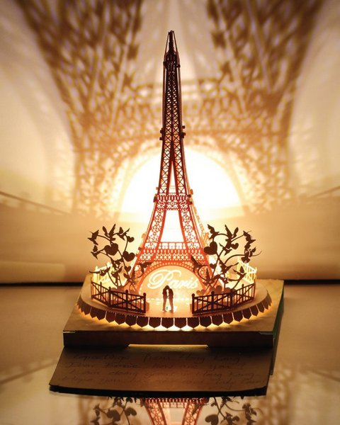 Eiffel Tower Papercut Light Model, Couple 💑