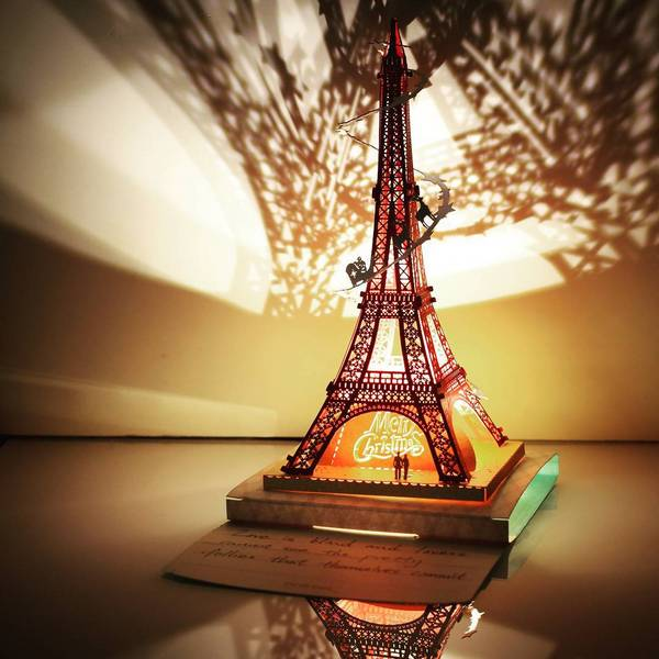 Eiffel Tower Papercut Light Model, X'mas 🎄