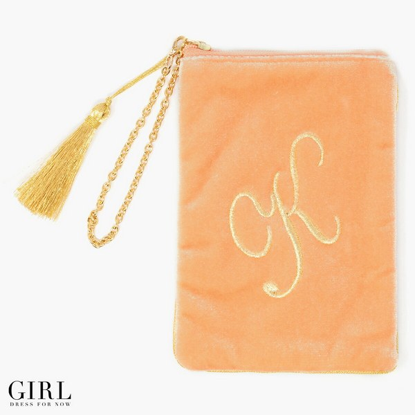 Initial Makeup Cosmetic Wristlet Pouch Bag, Initial K / Orange
