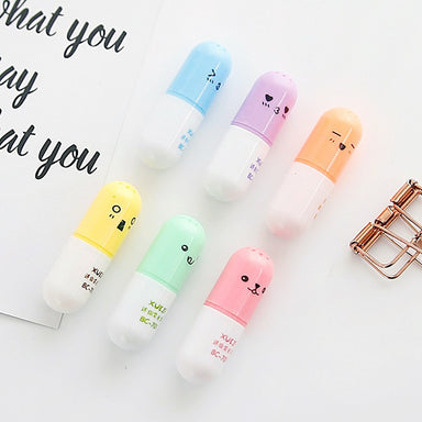 Emoticon Mini Pill Highlighter 6 Colors Pack, All 6 Color Pack