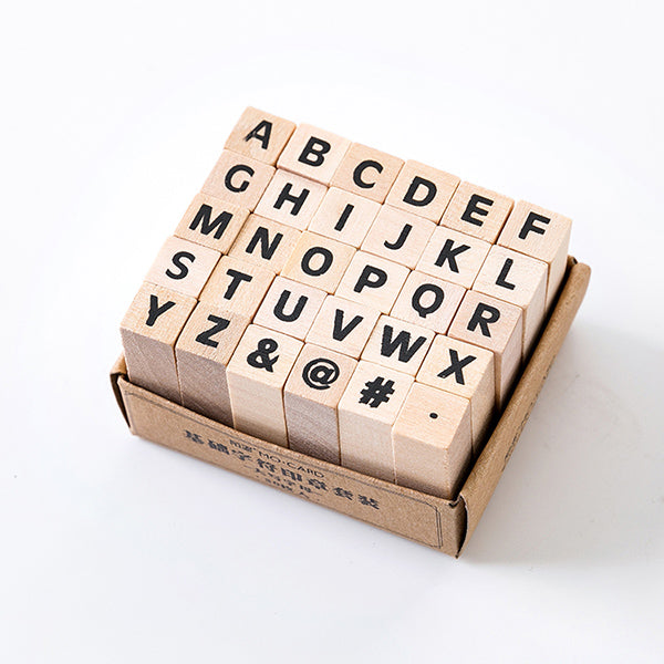 English Alphabet Wooden Stamp Set, Upper Case Letter