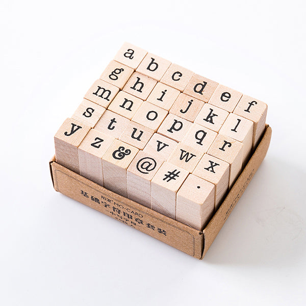 English Alphabet Wooden Stamp Set, Lower Case Letter