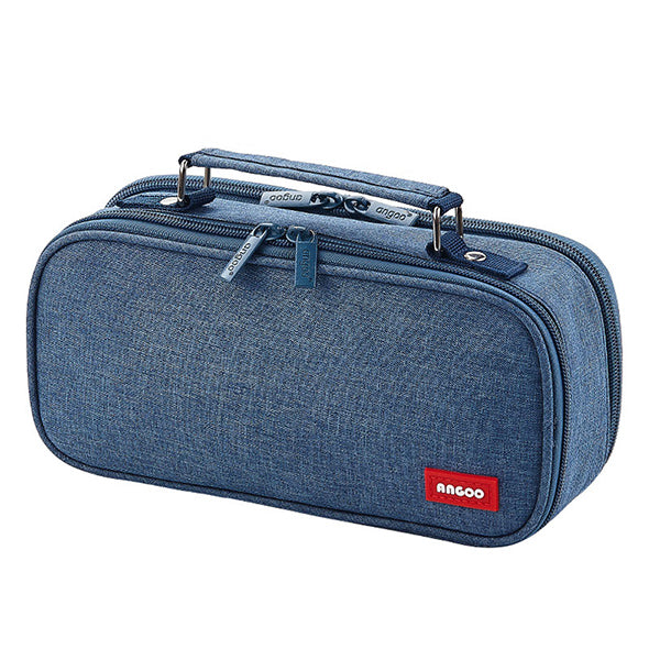 Extra-Large Multilayer Canvas Pencil Case Pouch, Blue