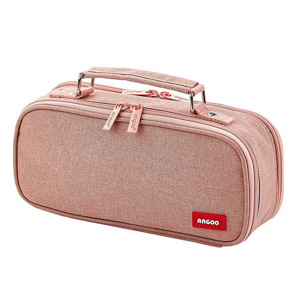 Extra-Large Multilayer Canvas Pencil Case Pouch, Pink