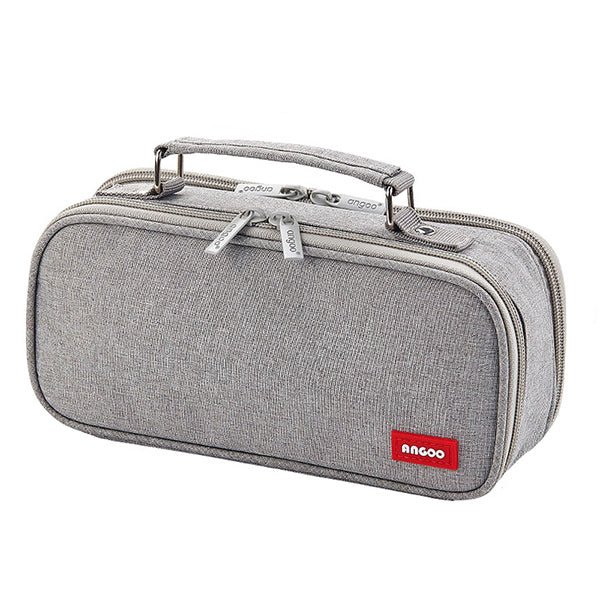 Extra-Large Multilayer Canvas Pencil Case Pouch, Gray