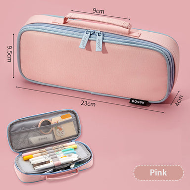 Extra-Long Canvas Zippered Pencil Case, Pink