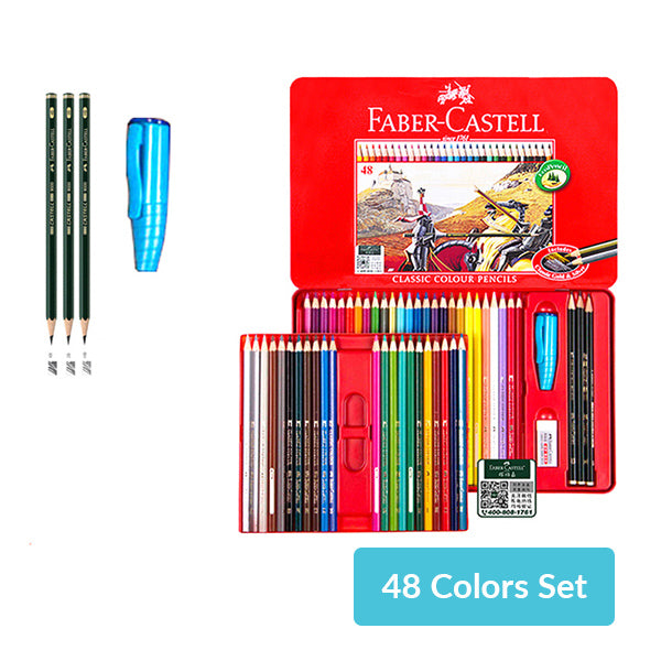 Faber-Castell Colored Pencil Tin Case 48 / 60 / 100 Colors Set, 48 Colors Set
