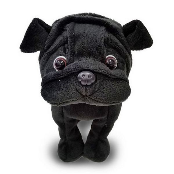 Furry Puppy Plush Toy, H. Pug Black