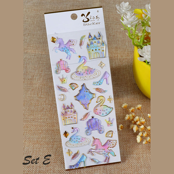 Galaxy & Unicorn Pastel Color Crystal Stickers, E