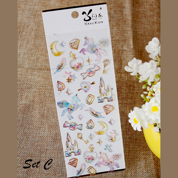Galaxy & Unicorn Pastel Color Crystal Stickers, C