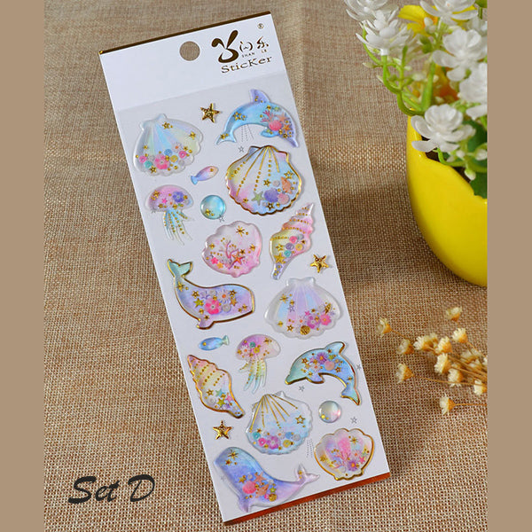 Galaxy & Unicorn Pastel Color Crystal Stickers, D