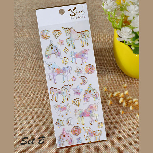 Galaxy & Unicorn Pastel Color Crystal Stickers, B