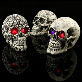 Glowing Eyes Skull Statue