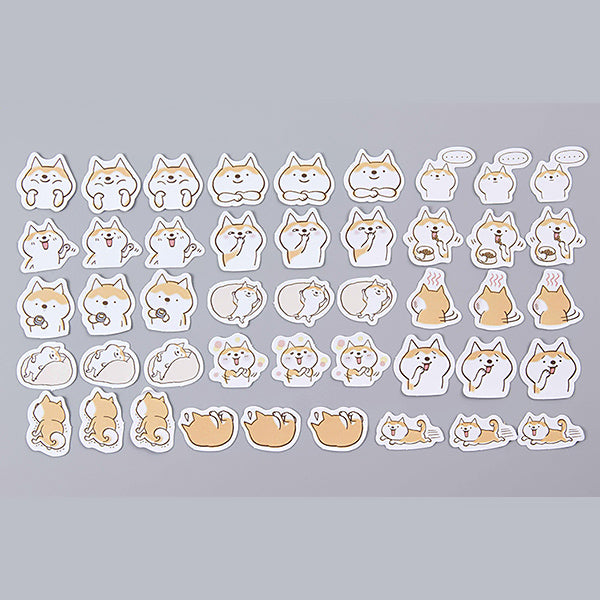Happy Corgi Dog Cartoon Paper Stickers 45 Pcs