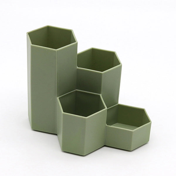Hexagon Pencil Pot Holder, Green / Four