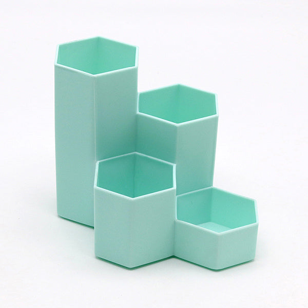 Hexagon Pencil Pot Holder, Green-Blue / Four