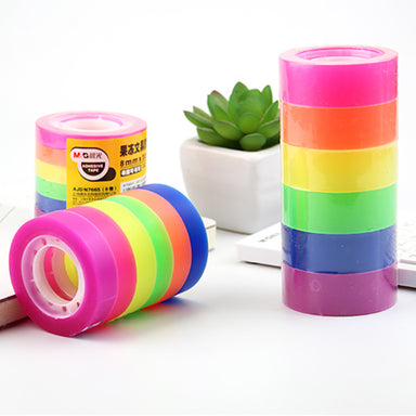 Invisible Matte Finish Colorful Highlighter Adhesive Tape 6 / 12 Pcs Set