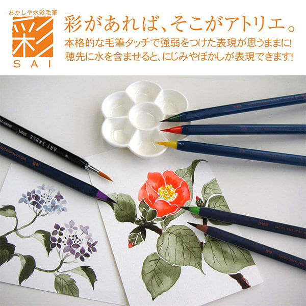 Akashiya Sai Watercolor Brush Pen 5 /20 Colors Set