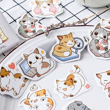 Kawaii Cartoon Cat Daily Life Paper Stickers 45 Pcs