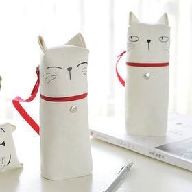 Kawaii Cat Emoticon Stand-Up Canvas Pencil Case