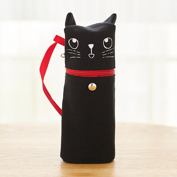 Kawaii Cat Emoticon Stand-Up Canvas Pencil Case, Black Cat (Happy)