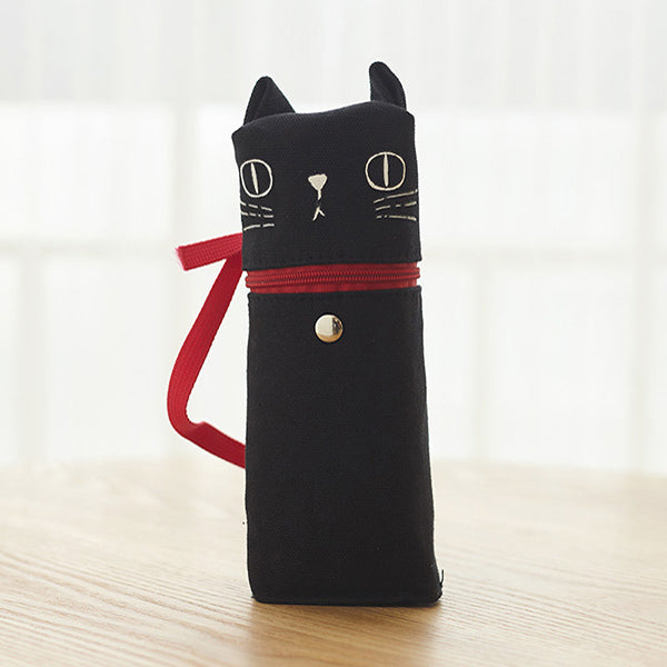Kawaii Cat Emoticon Stand-Up Canvas Pencil Case, Black Cat (Day Dream)