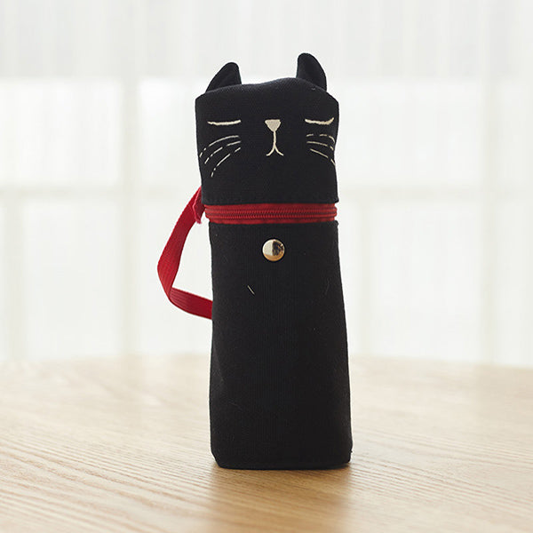 Kawaii Cat Emoticon Stand-Up Canvas Pencil Case, Black Cat (Nap)