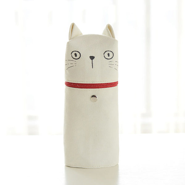 Kawaii Cat Emoticon Stand-Up Canvas Pencil Case, White Cat (Stare)