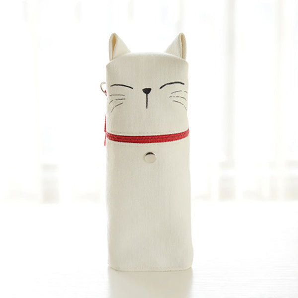 Kawaii Cat Emoticon Stand-Up Canvas Pencil Case, White Cat (Relax)