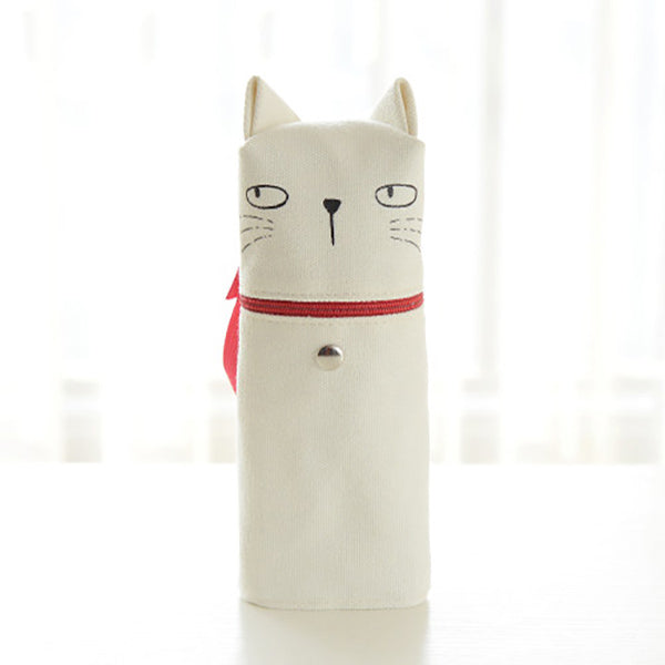 Kawaii Cat Emoticon Stand-Up Canvas Pencil Case, White Cat (Think)