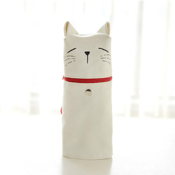 Kawaii Cat Emoticon Stand-Up Canvas Pencil Case, White Cat (Rest)