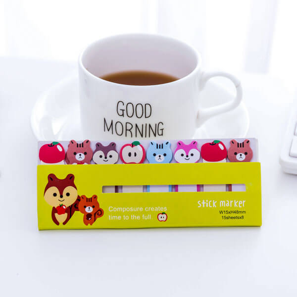 Kawaii Colorful Animal Bookmarks Paper Sticky Notes, NO 3