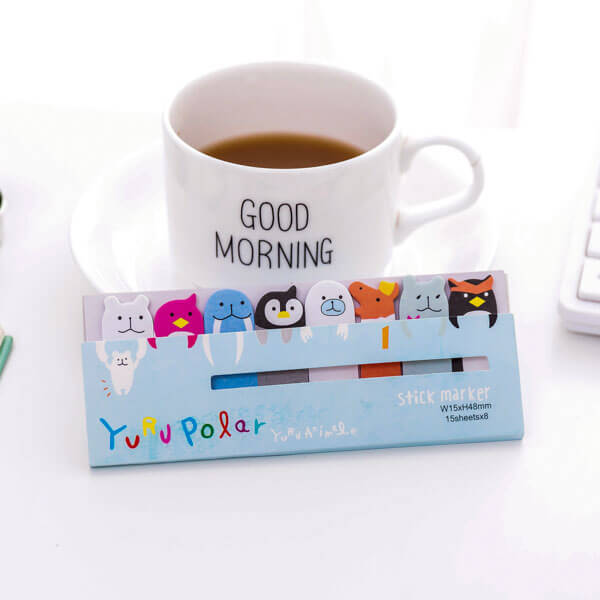 Kawaii Colorful Animal Bookmarks Paper Sticky Notes, NO 6