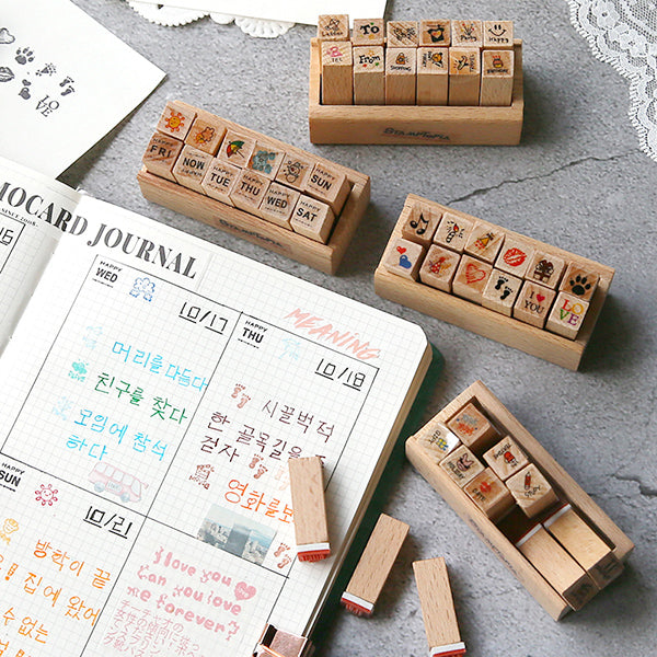Kawaii Daily Planner Wooden Stamp Set