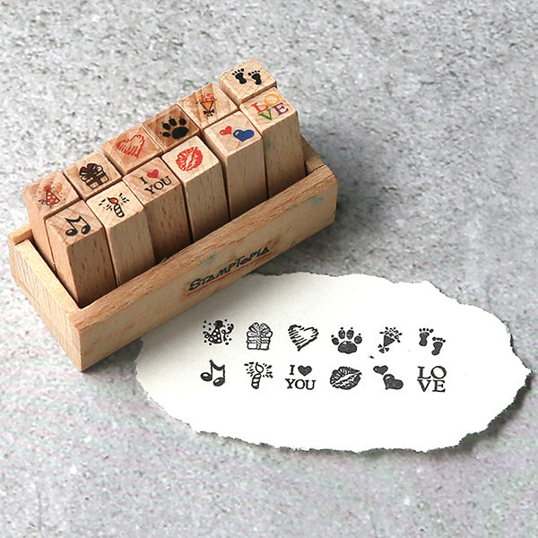Kawaii Daily Planner Wooden Stamp Set, Love