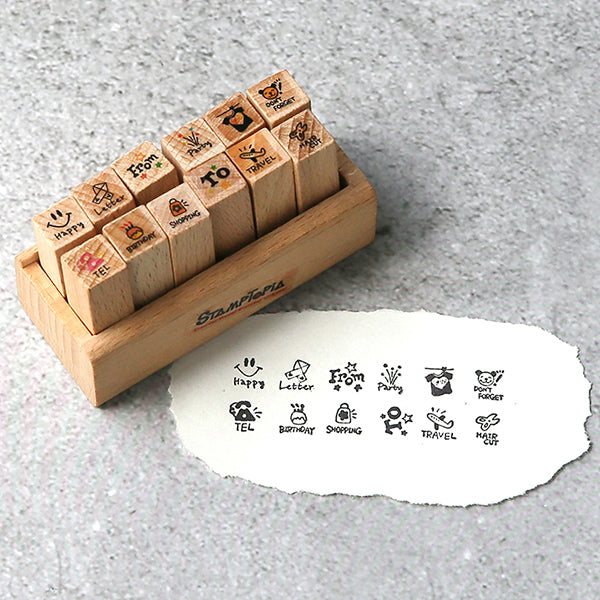 Kawaii Daily Planner Wooden Stamp Set, Memo