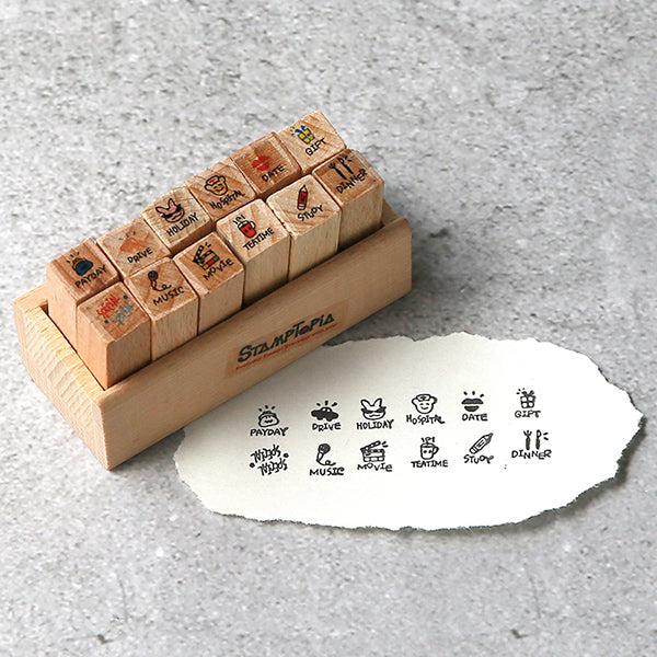 Kawaii Daily Planner Wooden Stamp Set, Event